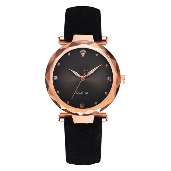 Luxury Fashion Leather Watches Women Rose Gold Crystal Dress Wristwatch Classic Quartz Watch for Woman Reloj Mujer Dropshipping