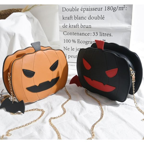 Malas de mulher agradável Halloween Pumpkin Bolsa Nova Cadeia Glossy Messenger Bag Ombro Mão Bolsa Tote Bolsa