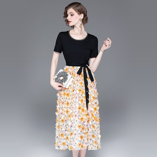 Verão novas mulheres coletar cintura arco-tie patchwork vestido tridimensional applique cintura alta A linha de vestido