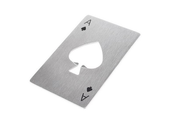 Stylish Poker Playing Card Ace of Spades Bar Tool Stainless Steel Soda Beer Bottle Cap Opener Gift