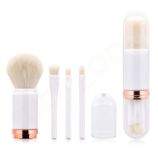 4 In 1 Makeup Brush Set Telescopic Double Head Brushes Powder Eye Shadow Highlight Brush Kit HHA227