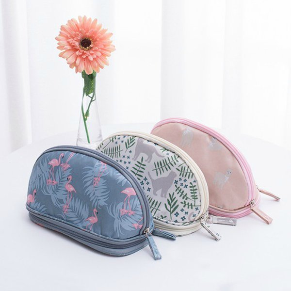 New Style New Female Portable Flamingo Cosmetic Bag Oxford Circular Double Travel Organizer Cosmetic Bag for Makeup Case Wash Toiletry Bag