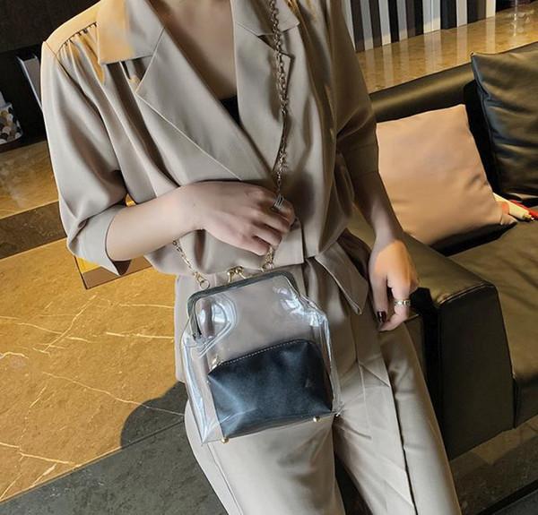 2019 bahar yeni Kore versiyonu bayanlar şeffaf bayanlar çanta vahşi moda çok renkli çanta Kore versiyonu