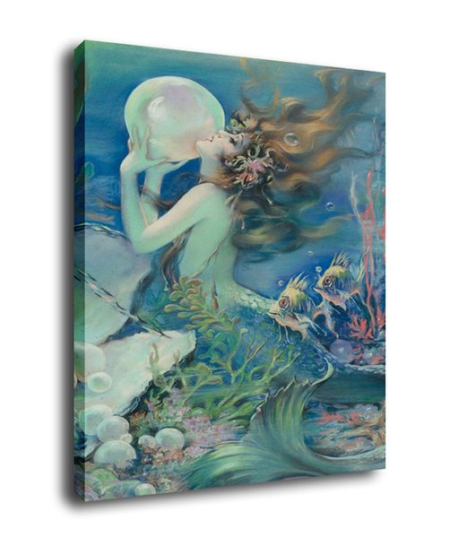 Fantasy Art The Mermaid And Pearls,Oil Painting Reproduction High Quality Giclee Print on Canvas Modern Home Art Decor