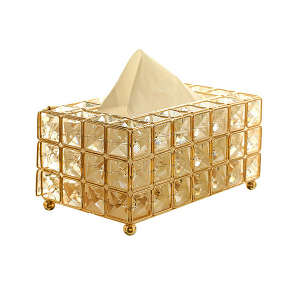European Style Metal Crystal Tissue Box Removable Tissue Napkin Holder Kitchen Living Room Dining Room Decoration