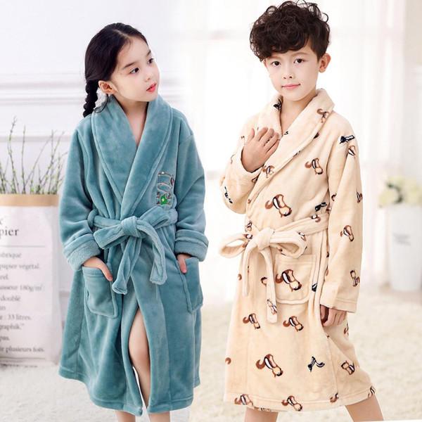 Thicken Warm Children Sleepwear Winter Flannel Robe Kimono Bathrobe Kid Boys Girls Cartoon Nightgown Lovely Nightwear XS S M