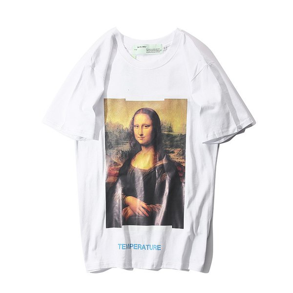 2019 Summer New Pattern Mona Lisa Oil Painting Arrow Short Sleeve Pure Cotton Easy T T-shirt Men And Women Tide