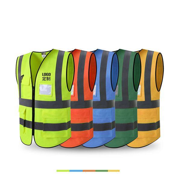 Gilet réfléchissant Construction fluorescente multi-poches Sécurité routière Vêtements de protection imprimable Oem Commande Jaune Couleur Orange Vert