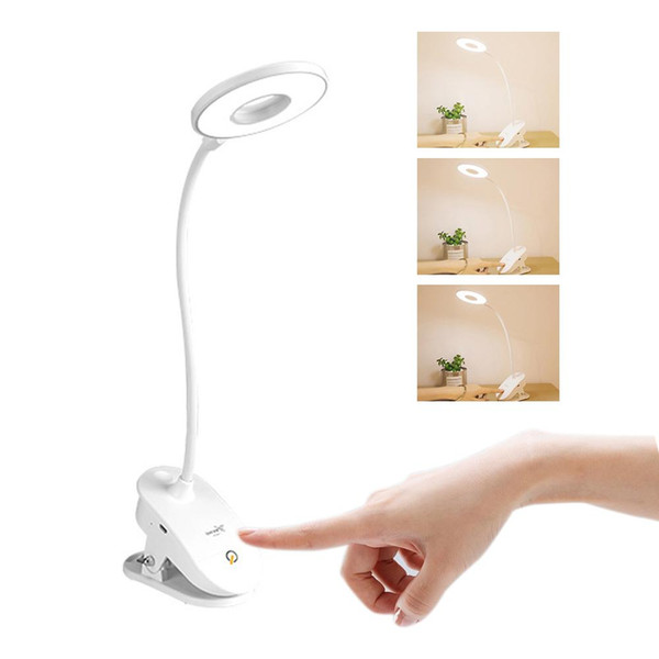 Luce di riempimento tonda dimmerabile touch con ricarica USB con lampada da tavolo a clip Lampada da tavolo bianca per la protezione degli occhi dei bambini
