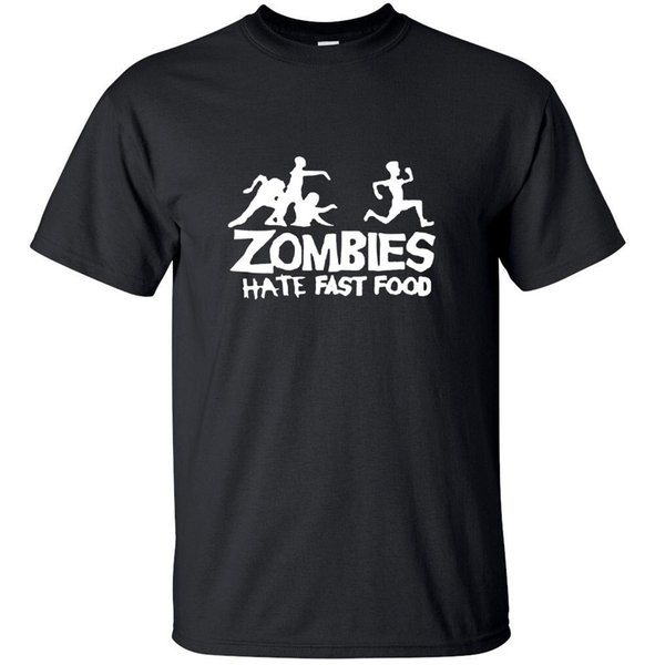 Zombies hate fast food - Funny Monster Adult T-Shirt Black Joke CustomFunny free shipping Unisex Tshirt