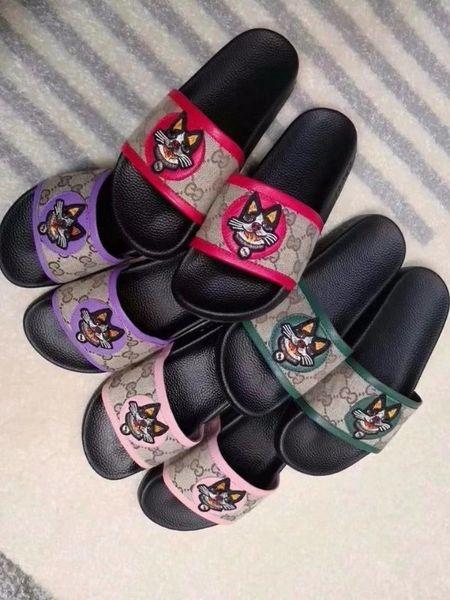 2019 de calidad superior bordado del perro zapatos flip flop lienzo sandalias de cuero moda mujer zapatillas casuales con caja