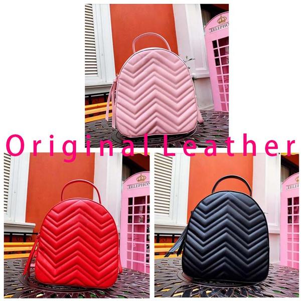 Designer backpack high quality wave pattern luxury fashion famous leather handbag ladies bookbag 2019 new