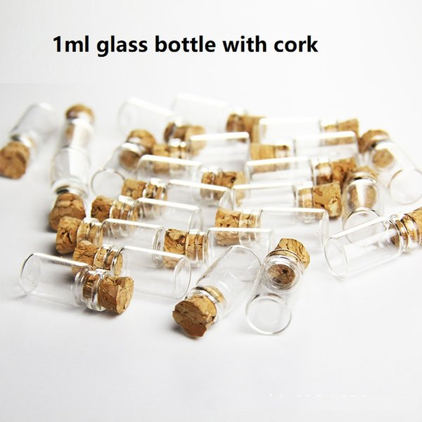 500/lot 1M Clear Glass Bottle with Wood Cork, Cork bottle,Sample vial,small Glass Vial More sizes are available