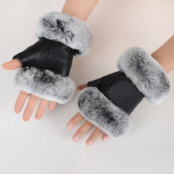Mode hiver noir demi-doigt en cuir véritable gants peau de mouton fourrure de lapin demi-doigt sans doigts gants de fourrure de lapin