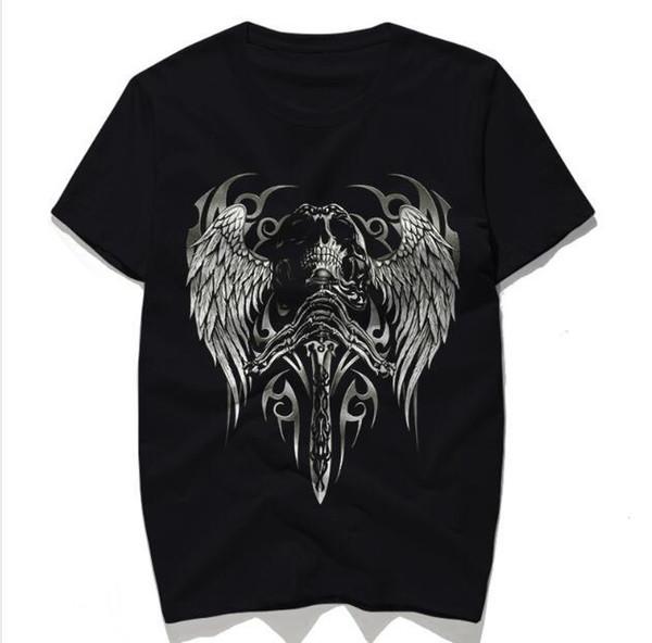 New Skull angelo spada stampa t shirt uomo Estate nero top uomo magliette t-shirt da uomo in cotone t-shirt casual
