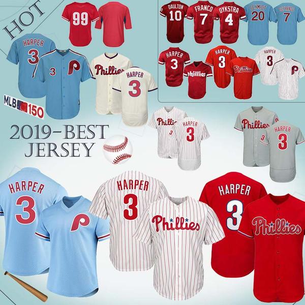 buy online c68ad 0b52b 2019 Philadelphia 3 Bryce Harper Phillies Jersey 7 Maikel Franco 4 Lenny 10  Darren Daulton 99 Mitch Williams Jerseys 2019 COOL/Flex Base From ...