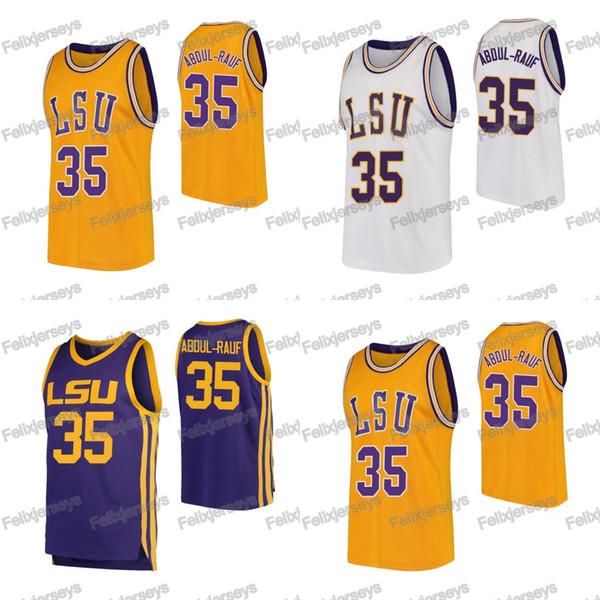 NCAA 35 Mahmoud Abdul-Rauf LSU 타이거즈 컬리지 농구 저지 다리우스 갈 랜드 화이트 퍼플 옐로 농구 유니폼 무료 배송