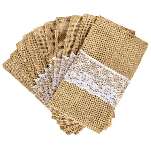 50 Pcs Natural Jute Knives And Forks Cutlery Set Silverware Bag Holder Burlap & Lace Party Wedding Decor, 21x11cm C19021401
