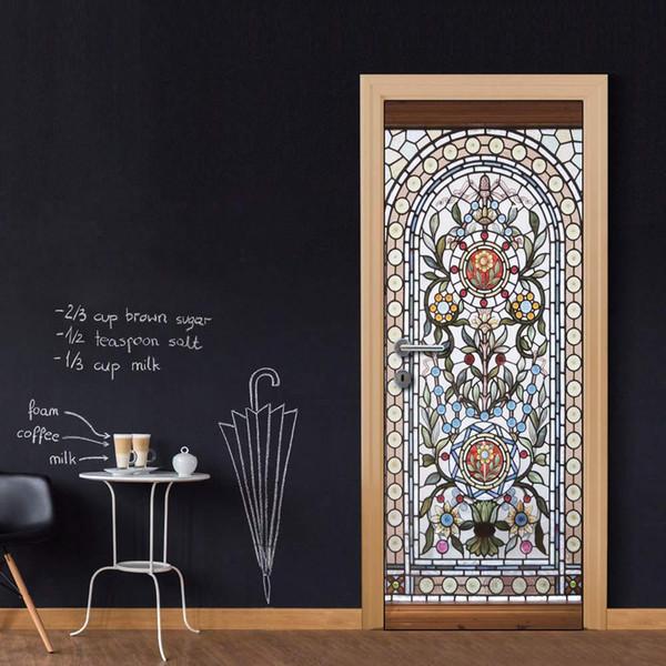 Wholesales DIY Door Sticker Classic Flower Patten Glass Door Decal for Bedroom Living Room wallpapers Decal home accessories