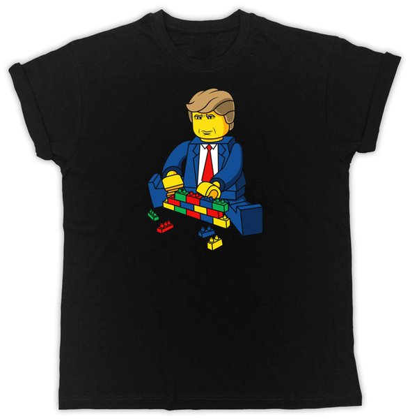 LUSTIGER DONALD TRUMP BAUE EINE WAND LEGO IDEAL GESCHENK COOL RETRO UNISEX SCHWARZ T-SHIRT Kurzarm plus Größen-T-Shirt
