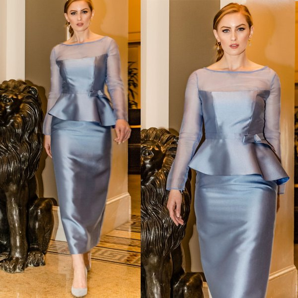 Modest Sheer Jewel Neck Mother Dresses for Wedding Two Pieces Satin Women Formal Wear Guest Prom Mother Of The Bride Dresses