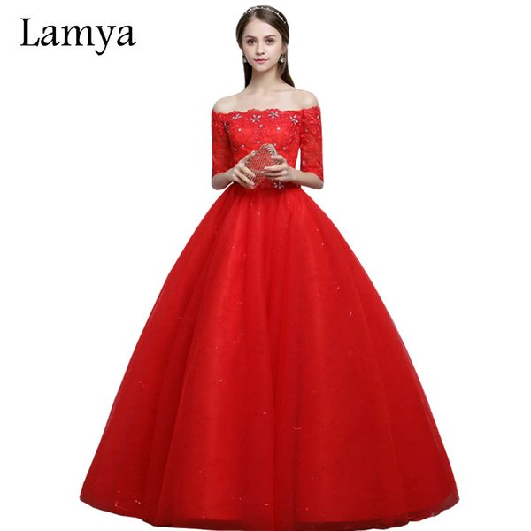 wholesale Vintage Red Boat Neck Wedding Dresses With Short Sleeves 2019 Lace Ball Gown Vestidos De Noiva alibaba retail store