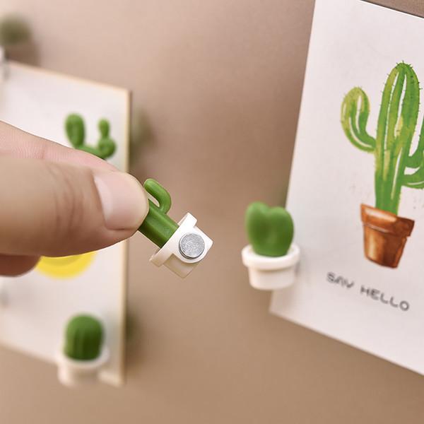 6pcs / Set frigorifero autoadesivo creativo del magnete sveglio del pulsante Pianta grassa Cactus Magnete Frigorifero Messaggio Sticker nuovo frigorifero Sticker