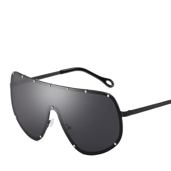Luxury- Vintage Rivets Polarized Sunglasses For Men Women Fashion Sport Goggles Luxury Big Frame Glasses Street Popular Unisex Eyewear