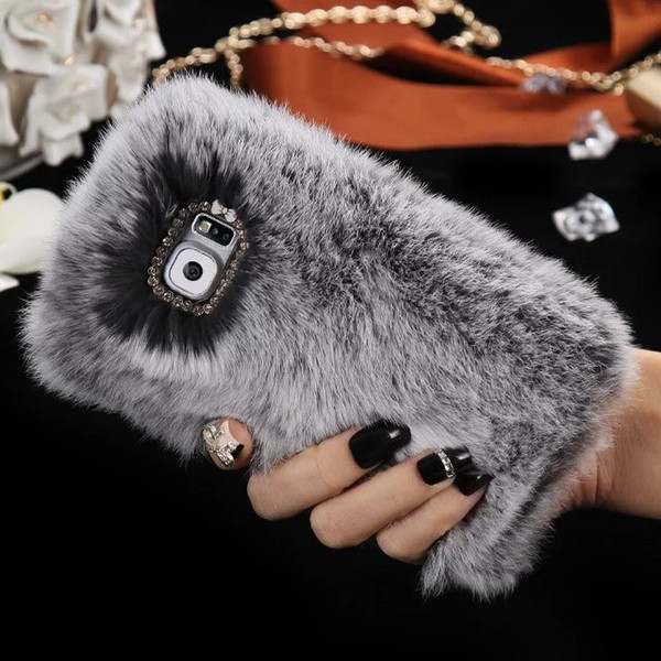 Applicable to iPhone XsMax Rex Rabbit Hair Mobile Shell Apple 8 Furry Luxury Fur XR Mobile Set S9 Protective Cover