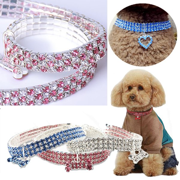 Bling Rhinestone Pet Collar Dog Cat Crystal Puppy Chihuahua Collars Leash For Small Medium Dogs Mascotas Diamond Jewelry Accessories 13style