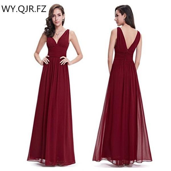 XMY6063 # Borgoña-rojo Doble cuello en V Vestidos de dama de honor largos Bohemia vestido de fiesta de bodas vestido de fiesta al por mayor de moda