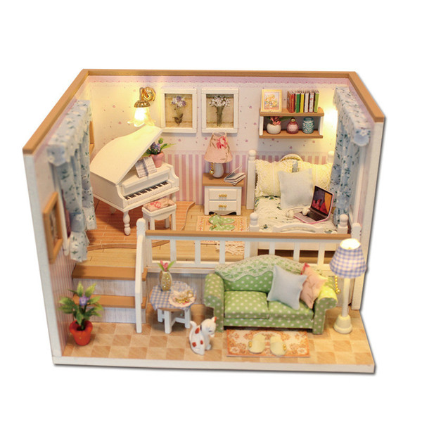 DIY wooden hand-assembled model house with music with light.Children birthday gift.