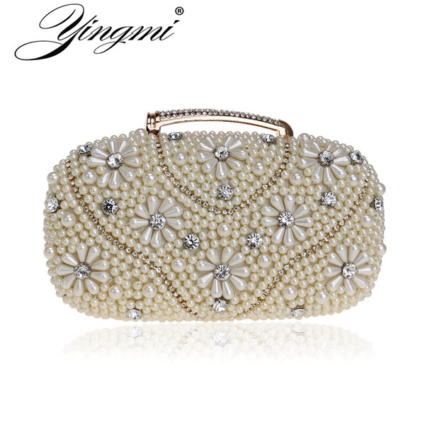 YINGMI Handmade style beaded women clutch purse diamonds metal one side evening bags case holder party bags