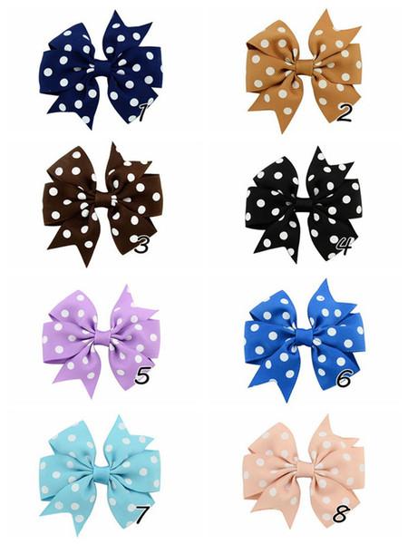 Bebê Meninas Fita Arcos Grampos de Cabelo Dot Bowknot Designer de Grampos de cabelo Crianças Bow Barrettes Hairclip Meninas Hairpin Acessórios Para o Cabelo Multicolor