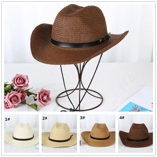 20pcs Straw Braid Men Cowboy Hats with Buckle Western American Mens Hat Lady Beach Hats Solid cap R299