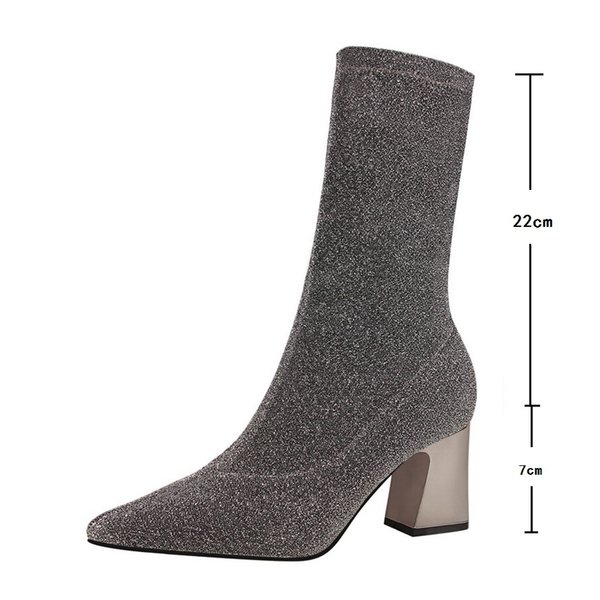 big size34-40 sell winter boots women nightclub short boots female thick high-heeled pointed sequins shiny sexy