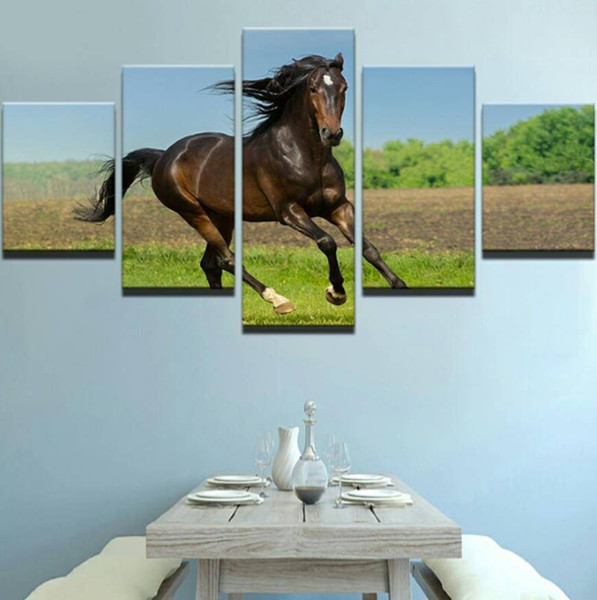 Canvas Painting Home Decoration 5 Panel Animal Horses Wall Art Modular Pictures Painting For Living Room Printed No Frame