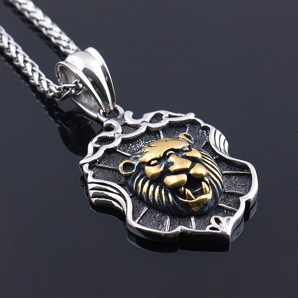 Moda Vintage Ouro Grande Cabeça de Leão Pingente de Colar Animal Rei pingentes de aço inoxidável jóias frete grátis