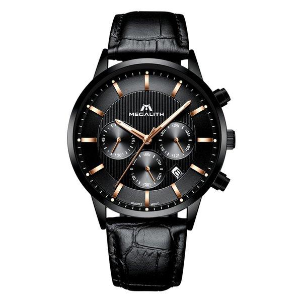 MEGALITH Reloj de lujo para hombre Reloj cronógrafo impermeable Reloj de pulsera de cuero genuino Deporte Negocio Cuarzo para hombres Montre Hommeu