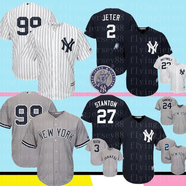 low priced 6c357 10d4c 2019 Yankees Jersey 99 Aaron Judge 2 #27 Giancarlo Stanton 24 Gary Sanchez  51 Bernie Williams 3 Babe Ruth 7 Mantle Baseball From Flyingjersey88, ...
