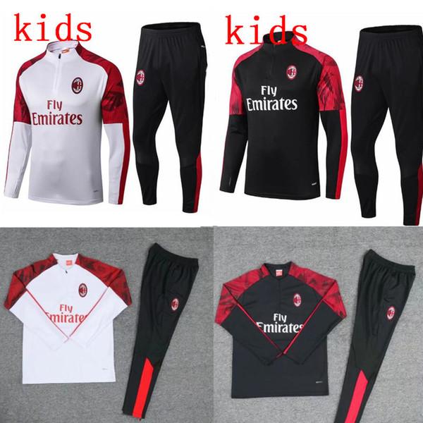 2019 bambini Milan giacca tuta Survêtement set 19 20 la formazione tuta Calhanoglu manica lunga rivestimento di calcio abbigliamento sportivo tuta