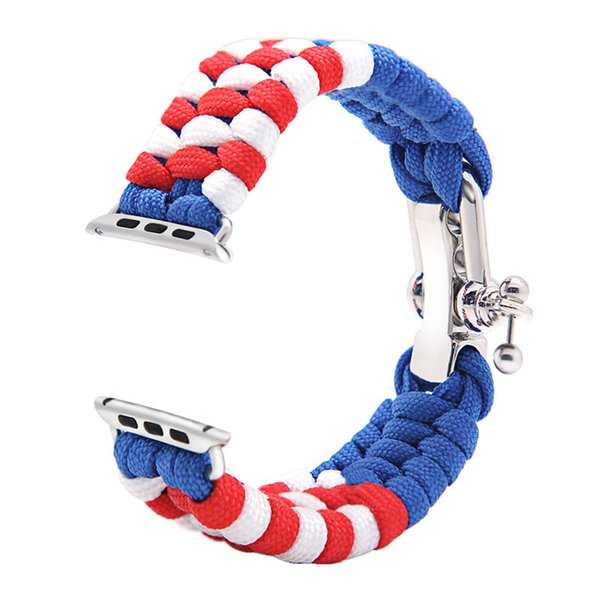 Adjustable 3 Sizes Soft Nylon Outdoor Sport Wristwatch Bands for Apple iWatch Blue&Red 38/42mm Outdoor Sport Watchband