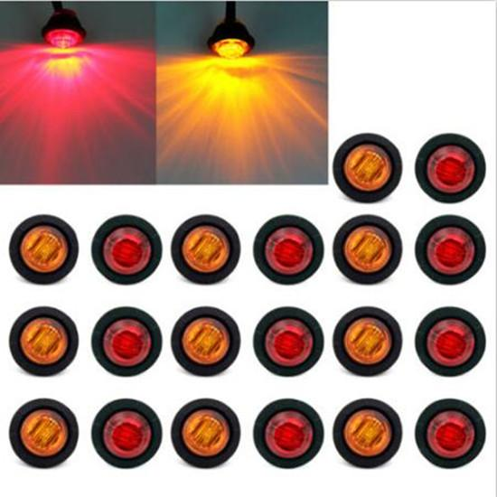 """top popular 20X Mini 3 4"""" Amber Red LED Bullet Turn signals Light Side Marker Truck Trailer Car styling 2019"""