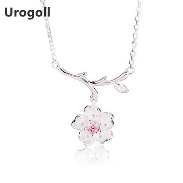 Hot Sale 925 Sterling Silver Necklace Pink Crystal Cherry Blossoms Flower Pendants & Necklaces Lovely Romantic Women Jewelry