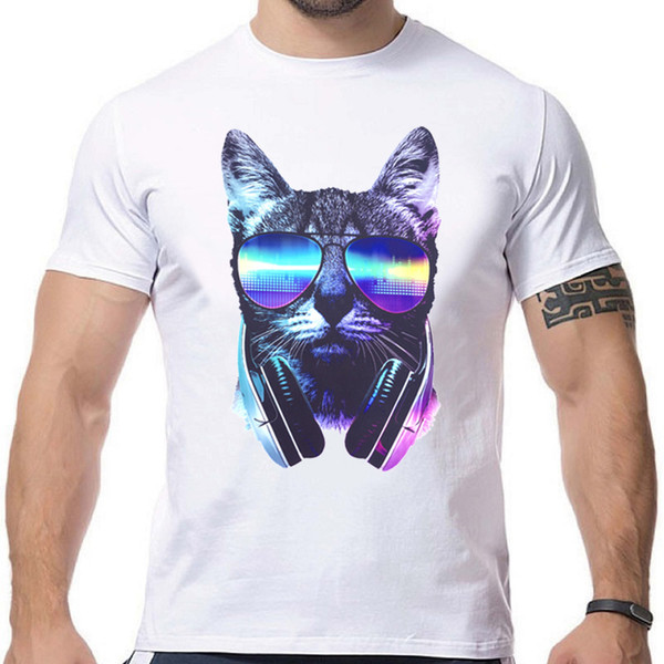 2019 Men's T-shirt Music Dj Cat Printed Fashion Brand New Men's T-shirts Short Crossfit Funny T-shirt Men Anime Tops Bmdiy-01