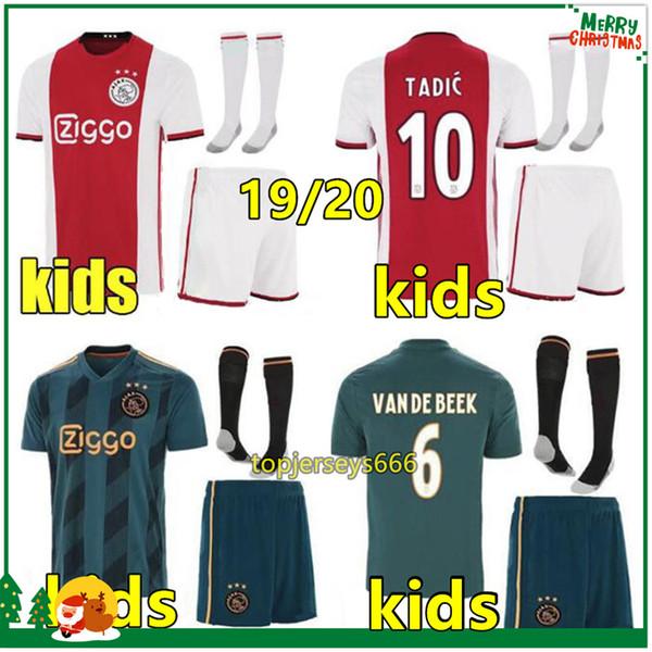 Hot Ajax FC Fußball Trikot Kinder-Sets + Socken 2019 2020 kids soccer jersey VAN DE BEEK ZIYECH TADIC NOURI DOLBERG kids 19 20 ajax Fußball-Trikot