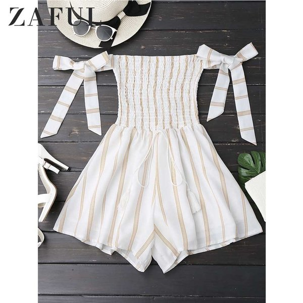 exclusive range official price value for money 2019 Zaful Strapless Self Tie Striped Romper Casual Women Rompers Jumpsuits  Summer Playsuits Off Shoulder Bowknot Sleeve Overalls Y190502 From ...