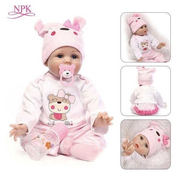 NPK Doll Reborn 55CM Soft Silicone Reborn Baby Dolls Vinyl Toys Big Dolls For Girls 3-7 Years Old Baby Dolls With Blouse Cloth