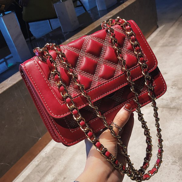Simple Fashion Female Square Bag 2019 New Quality Soft Pu Leather Women's Designer Handbag Lattice Chain Shoulder Messenger Bag
