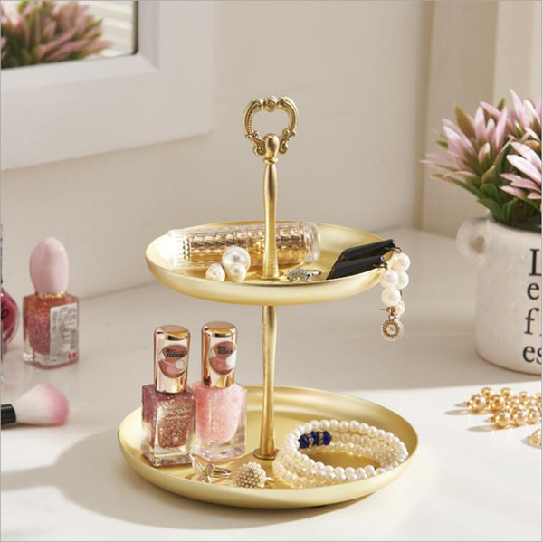 Porch Key Cosmetics Storage Box Lipstick Rack Dressing Table Jewelry Earrings Finishing Organizer Tray Shelf,Gold Platter,The Best Gift